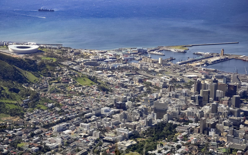 Panoramic View of Cape Town, South Africa and seacoast No People Cityscape Water Outdoors Day Sea Nature City Urban Sprawl Africa Bird's Eye View Panorama High Angle View Human Settlement Metropolis Ocean Summer Natural Lighting Distant Seacoast Coastal Landscape TOWNSCAPE