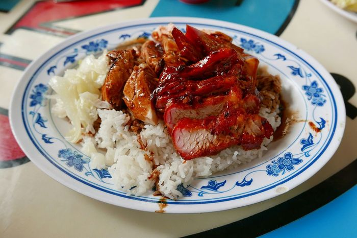 Chicken and Char Siew with white Rice for Lunch Food Porn Awards Sgfood