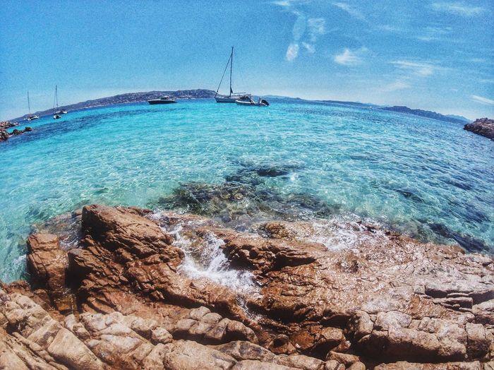 Sailboats on sea shore against sky
