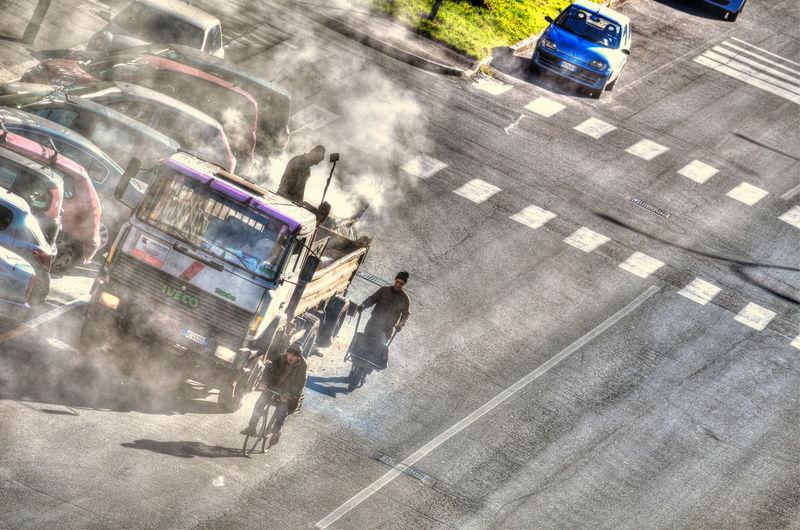 Stories From The City Asphalt Asphalt Jungle Bike Ride How Do We Build The World? Men At Work  Men At Work... Pollution Pollution In My World Road Smoke Truck Work Work On Street Work Smoke Workinprogress The Photojournalist - 2016 EyeEm Awards