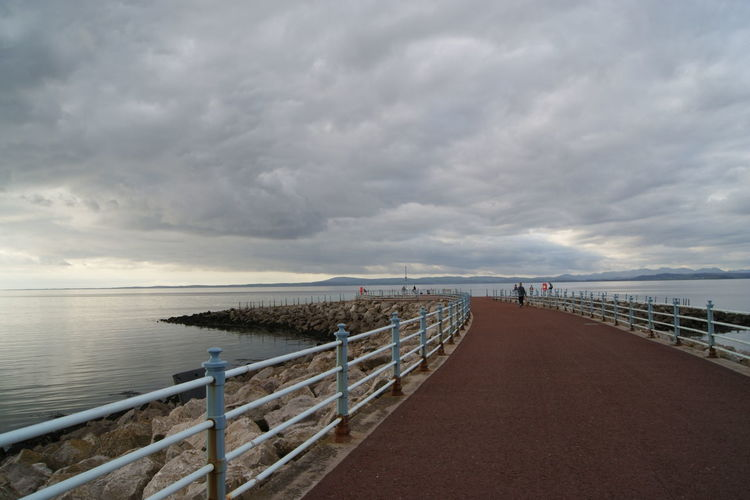 Beauty In Nature Calm Cloud Cloud - Sky Cloudy Day Diminishing Perspective England Horizon Over Water Jetty Lancashire Long Morecambe Narrow Nature Ocean Outdoors Pier Railing Scenics Sea Sky The Way Forward Tranquil Scene Water