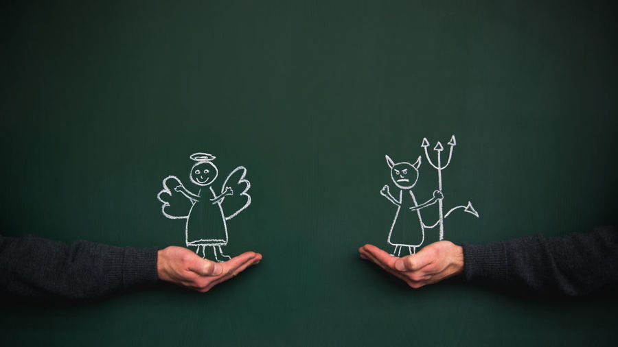 Devil Evil Angel Art And Craft Blackboard  Board Chalk Drawing Comparison Creativity Cute Drawing Drawing - Art Product Good Green Color Hand Holding Human Hand Men Opposite Opposites People Real People Stickmen