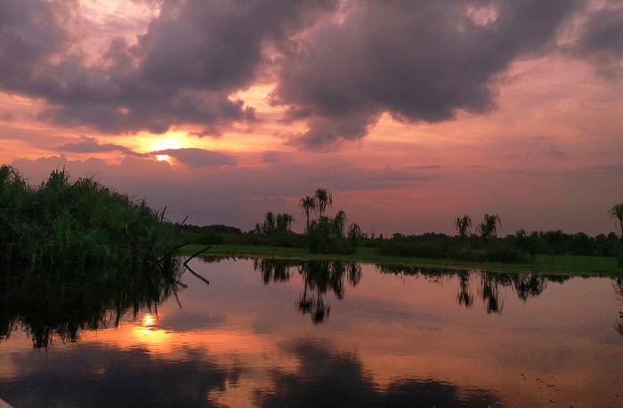 Sunset tumbangrungan river Beauty In Nature Cloud - Sky Dramatic Sky Idyllic Lake Nature No People Non-urban Scene Orange Color Plant Reflection Scenics - Nature Sky Sunset Tranquil Scene Tranquility Tree Water Waterfront