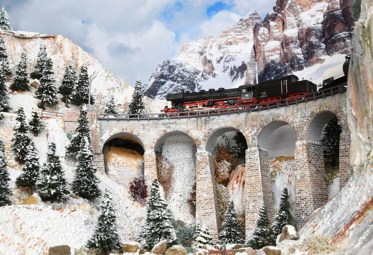 View of arch bridge in winter