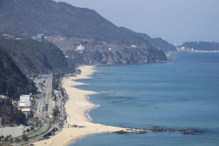 View from Sun Cruise Resort, Jeongdongjin, Gangreung, Gangwondo, South Korea Architecture Beach Beauty In Nature Building Exterior Built Structure Coastline Day Horizon Over Water Mountain Nature No People Outdoors Sand Scenics Sea Selfie Sky Water