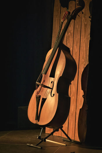 Violin By Wood Paneling On Stage