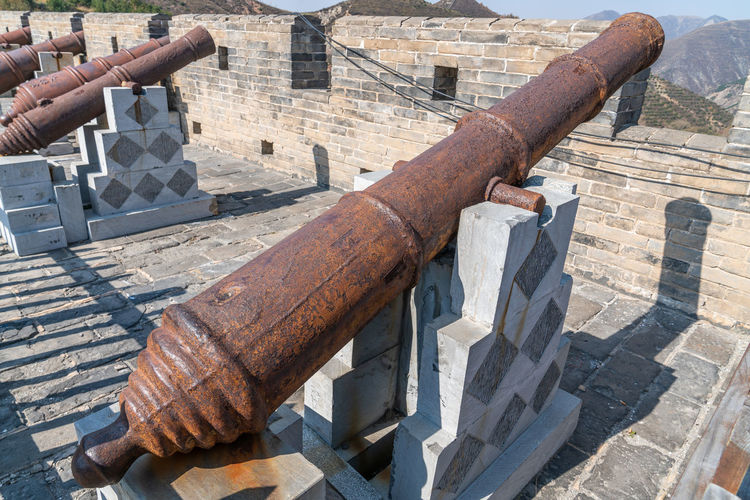 Artillery on the Great Wall of yanmen pass, China Ancient Ancient Buildings Ancient Times Artillery Blue Sky Buildings China Defense Firearms Great Wall Of China Mountains Old Fashioned Shanxi Province Sunny Days Weapon Yanmen Pass Nature Architecture Day Built Structure No People History The Past Outdoors Cannon Rusty Metal Old Wood - Material Damaged Obsolete Weathered Military Run-down High Angle View Ruined
