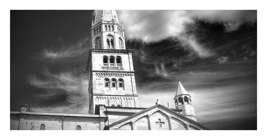 Clock Tower Tower Sky Cloud - Sky Outdoors No People Travel Destinations Low Angle View History City Day Clock Minute Hand Modena Modenacentro EyeEmNewHere Architecture Low Angle View Built Structure