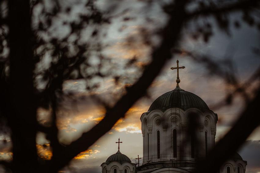 Beograd Lazarevac Orthodox Church Serbia Sunset Silhouettes Sunset And Clouds  Architecture Belgrade Fortress Kalemegdan Belgradestreets Built Structure Ortodox Serbianature Sky Spomen Kosturnica Sunset Susnset