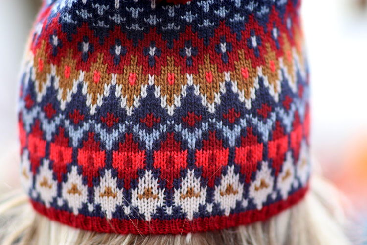 Cropped image of woman wearing knit hat