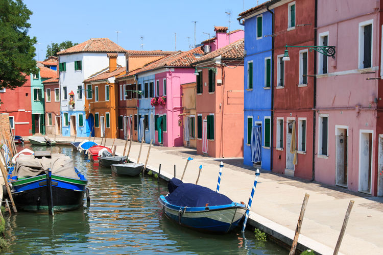 Burano's Colored Houses, Venice Architecture Blue Boat Building Built Structure Burano, Italy Canal Colored Day Houses In A Row Italy Mode Of Transport Nautical Vessel No People Outdoors Residential Building Residential Structure Rippled Sky Traditional Houses Travel Destinations Venice, Italy Water Waterfront
