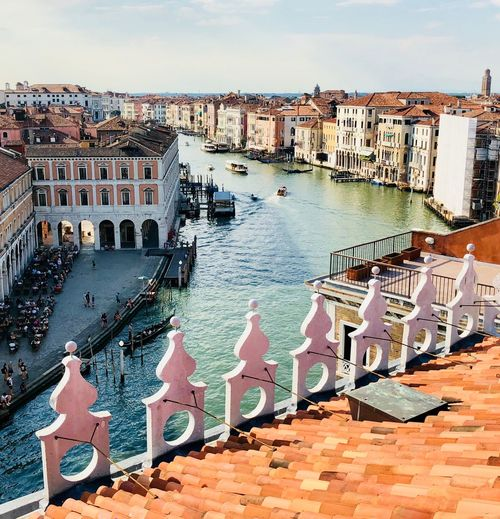 Rialto Bridge Venice, Italy Building Exterior Architecture Built Structure Water City Building Nature Sky Day High Angle View Sunlight No People Travel Destinations Nautical Vessel Outdoors Cloud - Sky Residential District Land Cityscape Beach