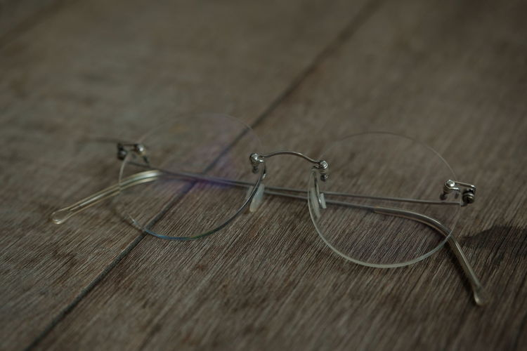 High angle view of eyeglasses on table
