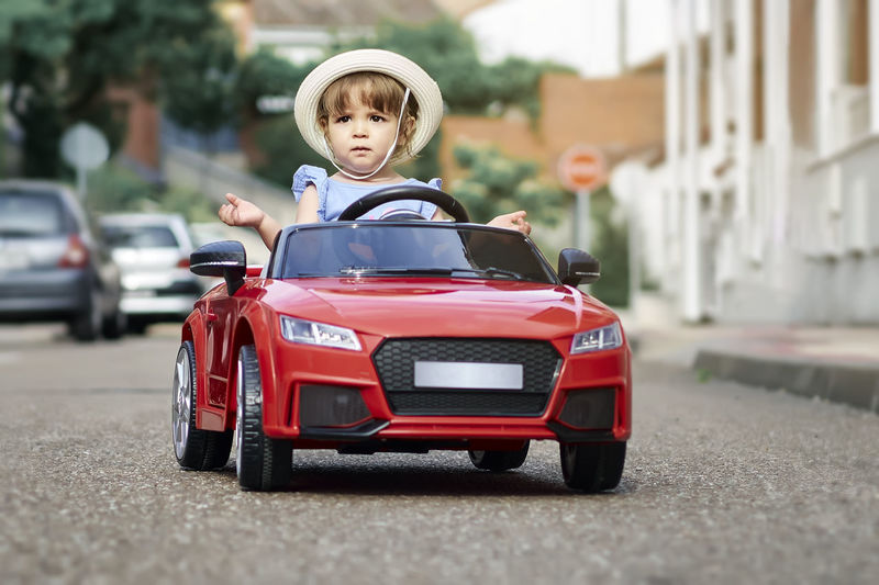 Rear view of boy toy car