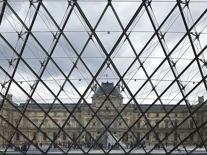 Paris Louvre Pattern Security Metal Backgrounds Protection Fence Architecture Built Structure Full Frame Day Sky