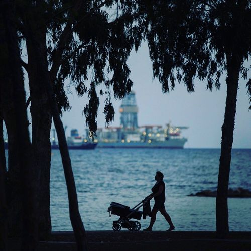 family city Limassol Water Sea Beach Sky Nature Real People Horizontal Women Kid