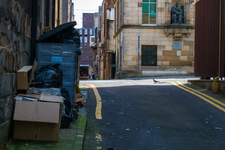 Alley Alleyway Architecture Back Street Buildings Bust  City Day Glasgow  Litter Markings Memorial Path Places I've Been Plaque Road Rubbish Bin Scotland Sculpture Service Area Statue Street Trash Urban Wheely Bins