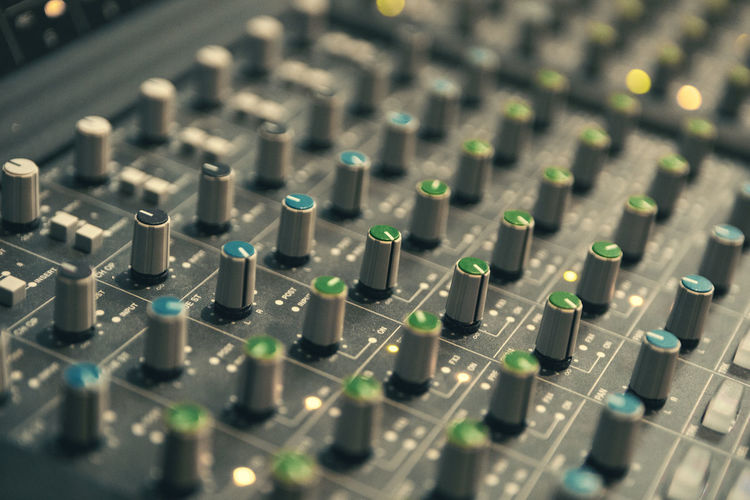 Technology Sound Recording Equipment Control Sound Mixer Audio Equipment Music Studio Selective Focus No People Recording Studio Equipment Communication Close-up Arts Culture And Entertainment Indoors  Connection Mixing Electrical Equipment Control Panel Electronics Industry In A Row Industry Electric Mixer