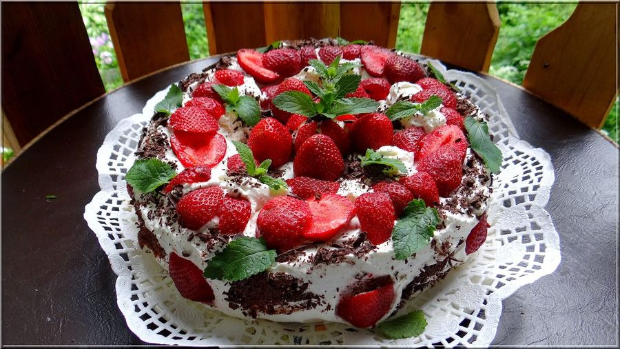 Close-Up Of Strawberry Cake In Plate