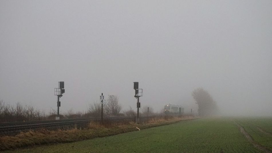 Foggy Railroad Nature No People Tree Outdoors Tranquility Beauty In Nature Fog Tranquil Scene Sky Day Rail_barons Railways_of_our_world Railroad Track Rail Transportation Railway Train Tracks