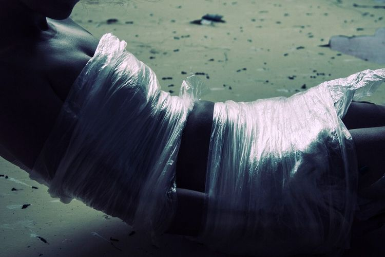 Inprisioned Girl Horror Scared Abandoned Alone... Plastic Plastic Wrap