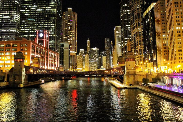 Chicago Chicago River Chicago Riverwalk Nightphotography Night Lights Architecture Illuminated Night Building Exterior Built Structure Skyscraper City Tall - High Modern River Travel Destinations Waterfront Cityscape Outdoors Urban Skyline Water No People Sky Cityscape The Week On EyeEm