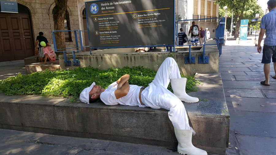 City Workers Lazy Man Person Relax Relaxation Resting Slacking Sleeping White Outfit