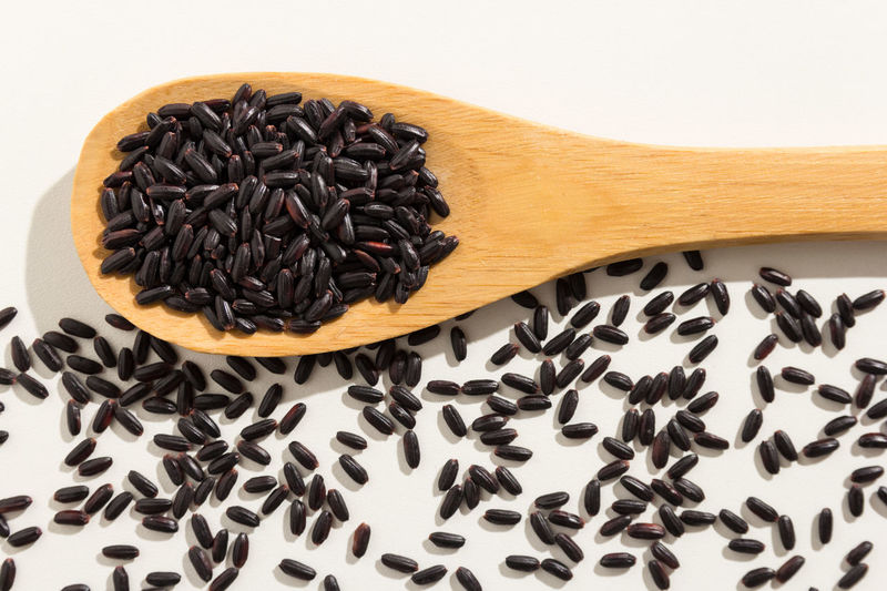 Black Color Black Rice Close-up Food Food And Drink Freshness High Angle View Indoors  No People Still Life Studio Shot Table Wooden Spoon