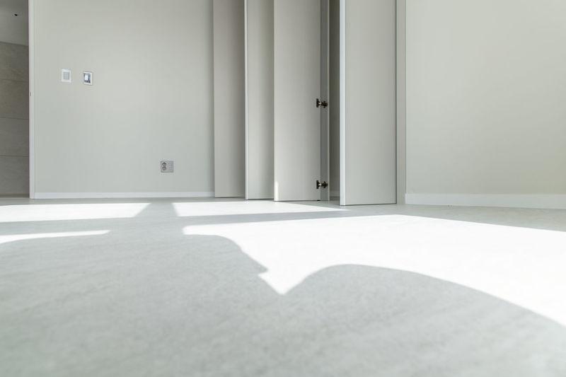 Sunlight falling on door of building