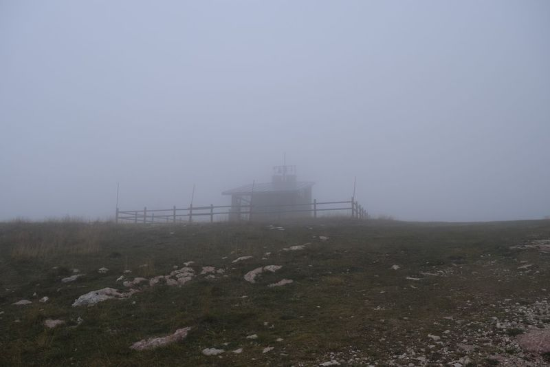 Built structure in foggy weather