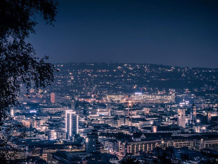High angle view of stuttgart at night