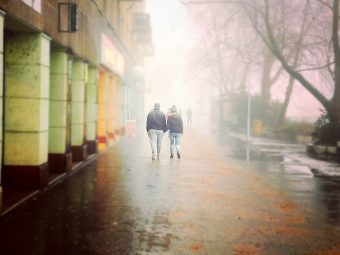 Two People Street Togetherness City Rain Walking Wet People Outdoors Misty Day
