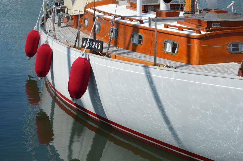 Close-Up Of Boat Sailing On Sea