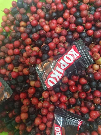 High angle view of cherries in container