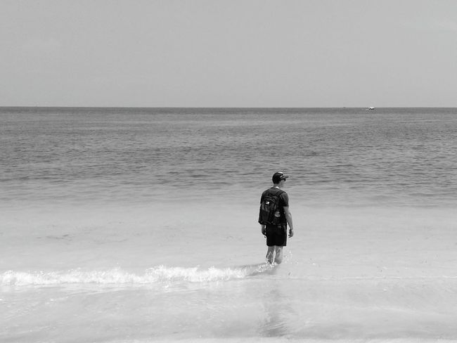 Travel Travelling Travellerslife Solitude Getting Away From It All LiveTheSearch Beach Water Horizon Over Water Beauty In Nature Relaxation Clear Sky Sea Loneranger Findingyourself Peaceful Place Firstblackandwhite People And Places People And Places.