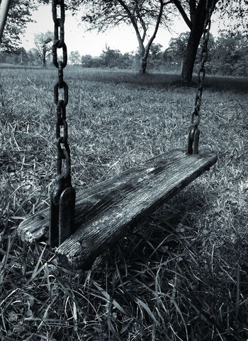 Swing Swing Old Swing Rust Rusty Chain Rusty Chains Wooden Wooden Swing Outdoors Playing Field Grass Blackandwhite Photography Farm Life Blackandwhite Low Angle View Black And White Black & White