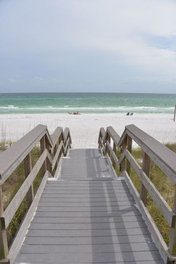Panama City Beach Florida. Sea Beach Horizon Over Water Water Sand Sky Day Wood - Material Outdoors Nature Scenics Wave Vacations Beauty In Nature Jetty No People Clear Sky