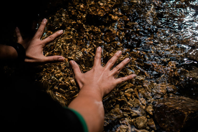 High angle view of hand on rock in shallow water