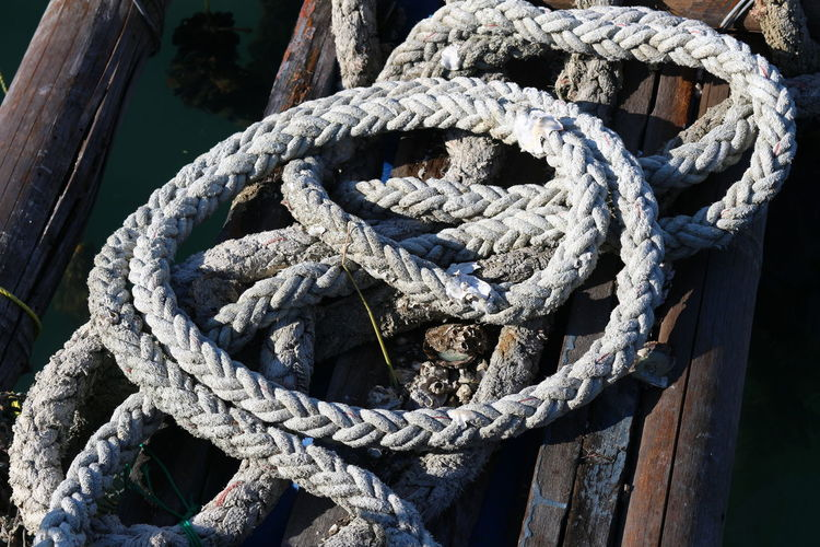 High Angle View Of Rope On Boat