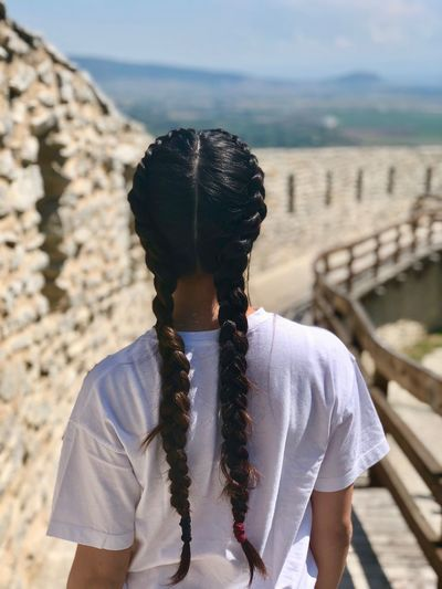 Fortress Braids Model Girl One Person Focus On Foreground Real People Leisure Activity Waist Up Day Lifestyles Nature Standing Land Front View Outdoors Sunlight Water Obscured Face Sky Portrait Unrecognizable Person My Best Photo