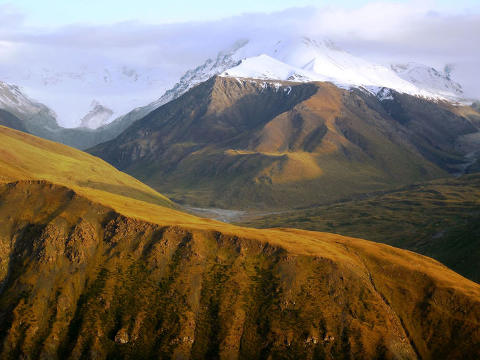 Evening light on kyrgyz foothills of the altai mountains