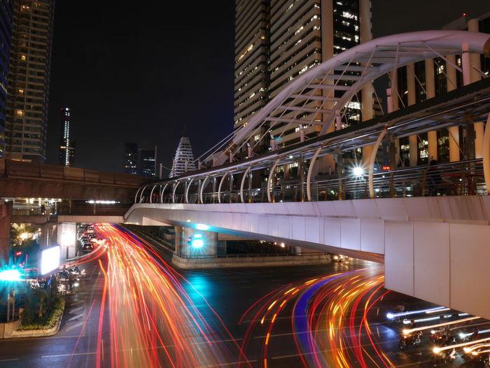 Light trails on city lit up at night