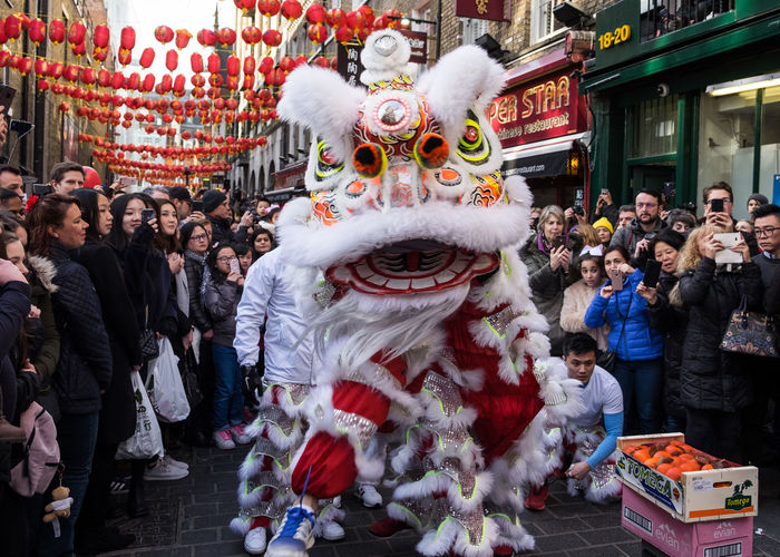 Chinatown Chinese New Year 2018 London Adult Celebration Chinese Dragon Chinese New Year Costume Crowd Cultures Dancing Day Dragon Enjoyment Fun Large Group Of People Leisure Activity Lifestyles Outdoors Participant Performance Real People Tradition Traditional Dancing Traditional Festival