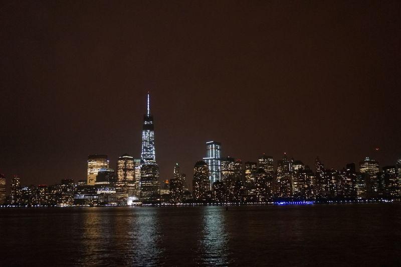 Illuminated empire state building