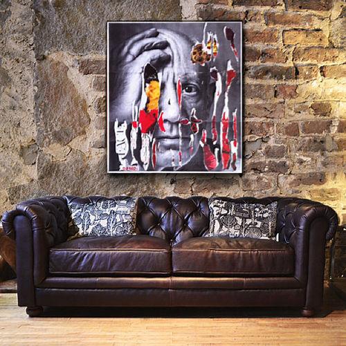 My artwork Slasky | Picasso 90x80 dècollage on cardboard for info contact me info@slasky.com Portrait Art Interior Design Blackandwhite Creative