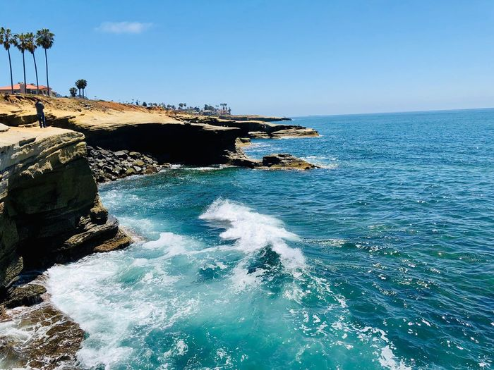 Sunset Cliffs Natural Park Water Sea Sky Beauty In Nature Blue Day Nature Scenics - Nature Tranquil Scene Horizon Waterfront Outdoors Idyllic Horizon Over Water Tranquility Clear Sky Sunlight Land No People