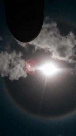 Un hallo del sol cualquira diria que hay presencia del planeta Nibirus planta x jajja