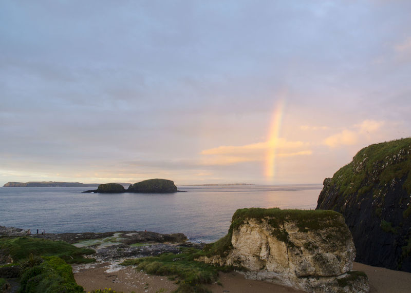 Beauty In Nature Horizon Over Water I Island Outdoors Rainbow Rainbow Sky Scenics Sea Seascape Sky Tranquil Scene Vacations Water Causeway Coast County Antrim Ireland Ireland🍀 Ireland Landscapes Islands Island View  Atlantic Ocean