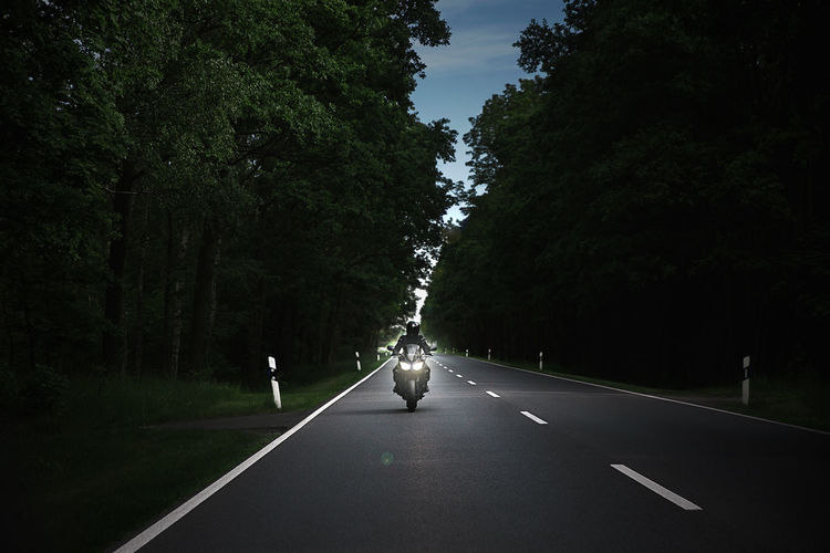 Man on road amidst trees against sky