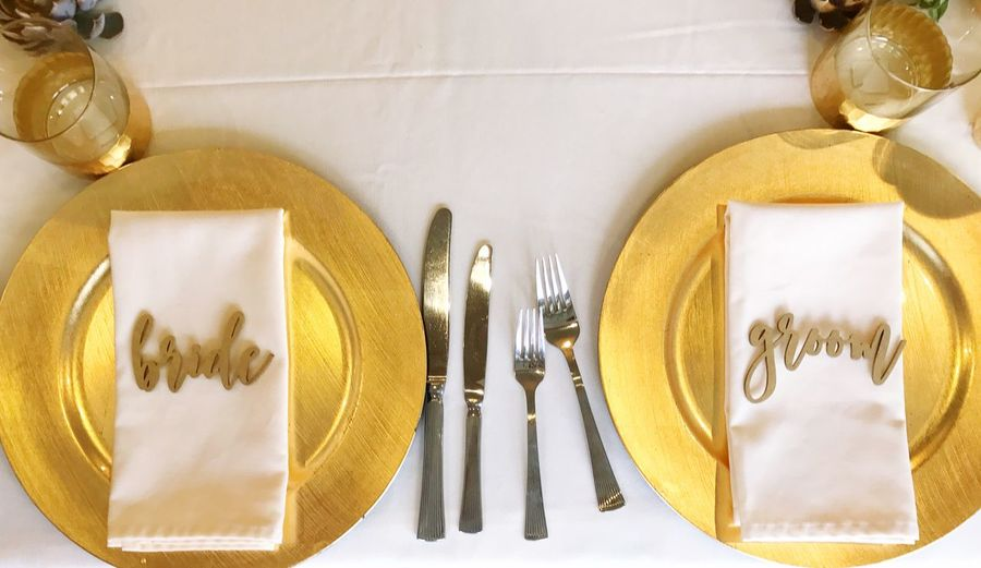 EyeEm Selects Fork Plate Food And Drink Table Table Knife No People Indoors  Directly Above Napkin Yellow Close-up Wedding Bride And Groom
